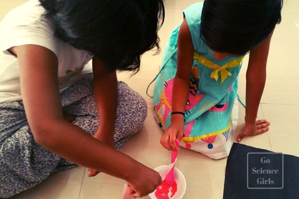 Measure, pour and stir - kids making sherbet in the kitchen