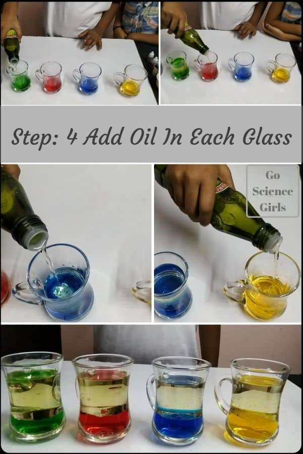 Add oil in each glass - homemade lava lamp experiment