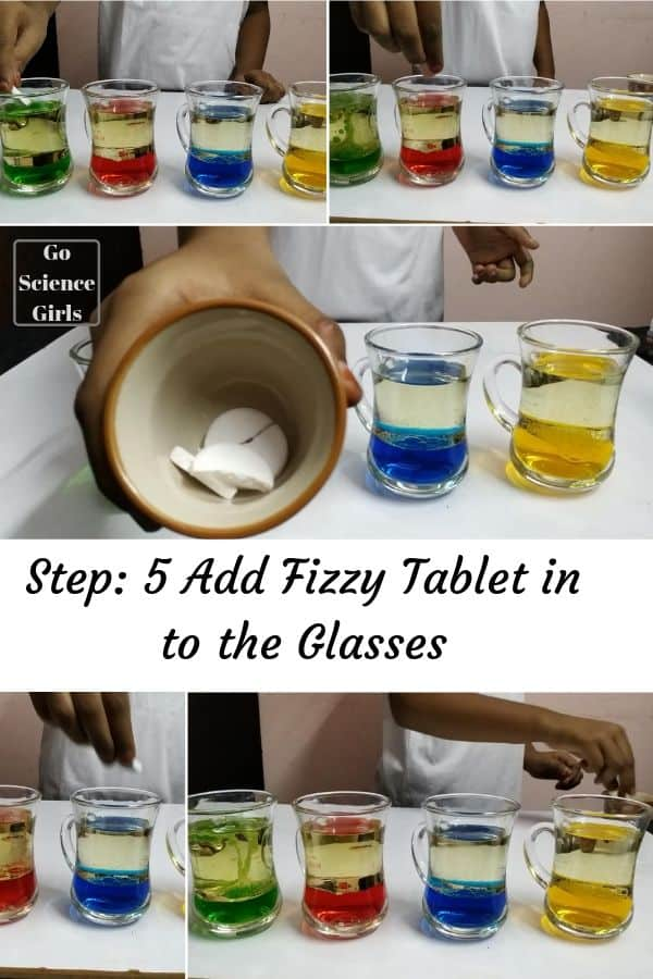 Add fizzy tablet in each glass - lava lamp experiment for kids