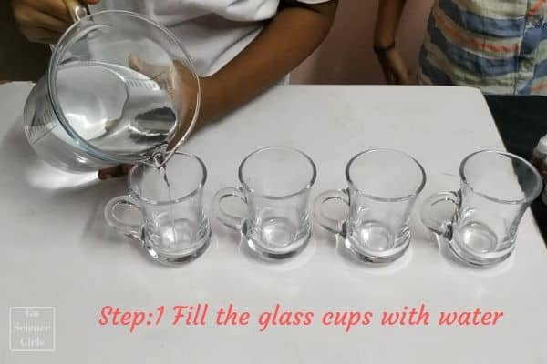 fill the glass cups with water