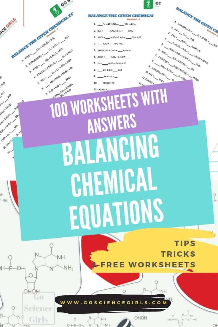Balancing chemical equations 100 worksheets with answers