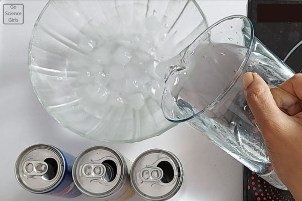 Pour Cold Water into the glass bowl