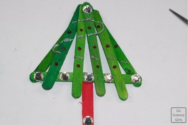 Decorated Popsicle Stick Christmas Tree