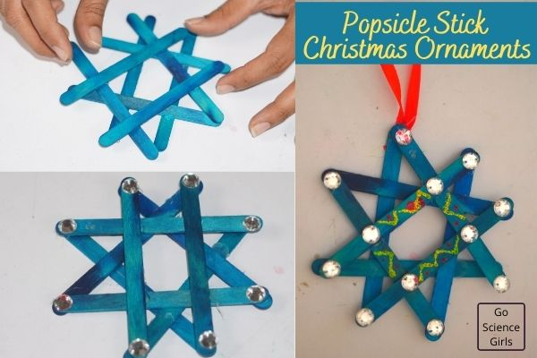 Popsicle Stick Christmas Tree Star Ornaments