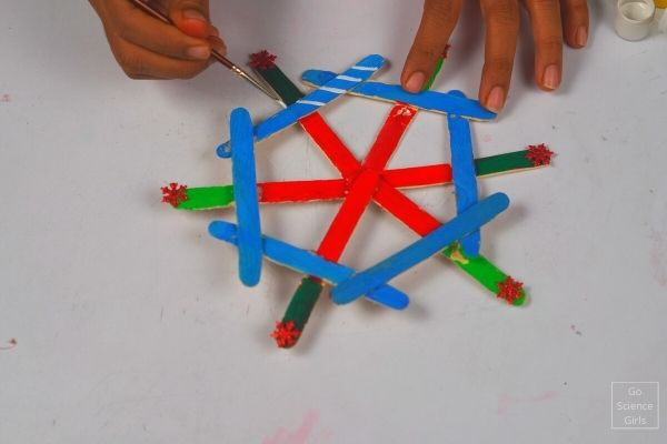 Decorating Popsicle Stick Snowflake Hanging Ornaments