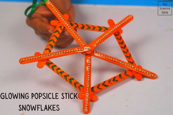 Glowing Popsicle Stick Snowflakes