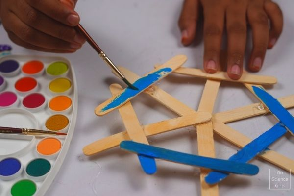 Painting Popsicle Stick Snowflake Hanging Ornaments