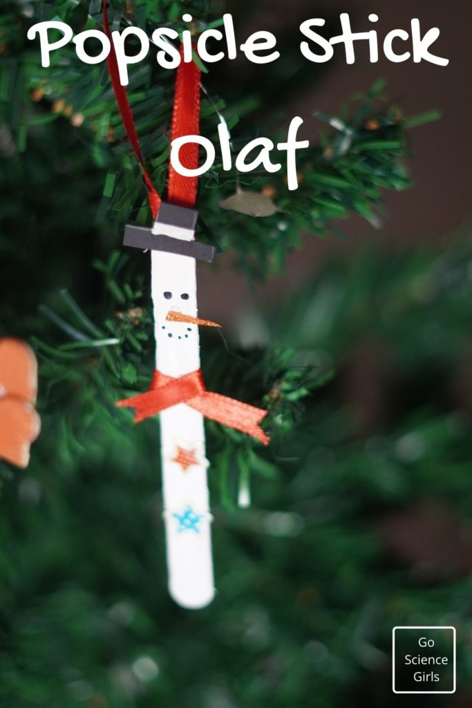 Popsicle Stick Olaf Christmas Tree Ornaments