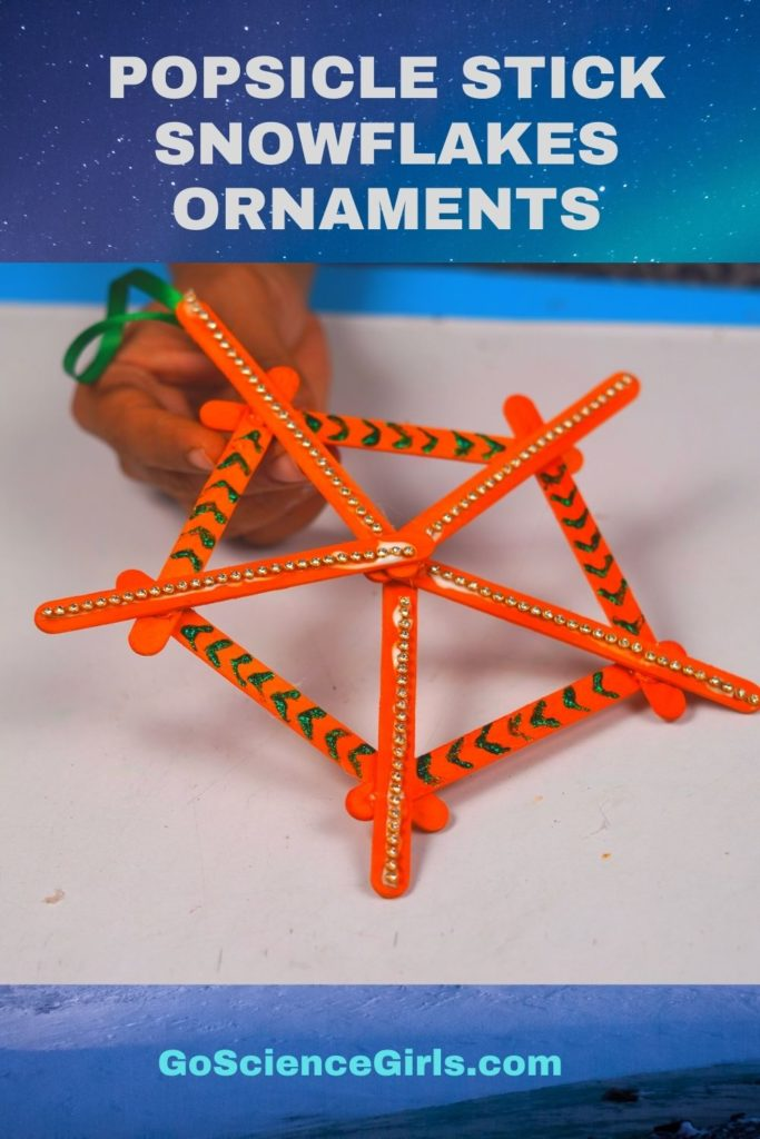 Simple Popsicle Stick Snowflakes Christmas Ornaments