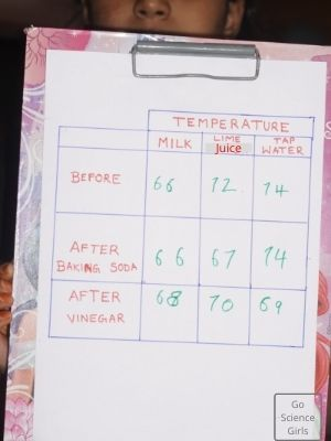 Temperature Noted For Baking Soda Experiment