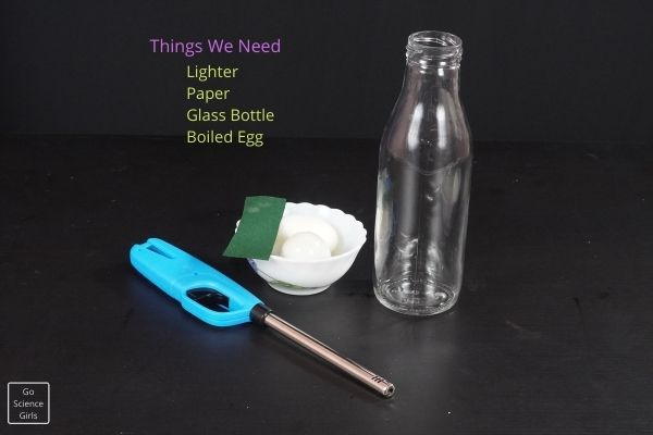 Things we need for egg in bottle experiment