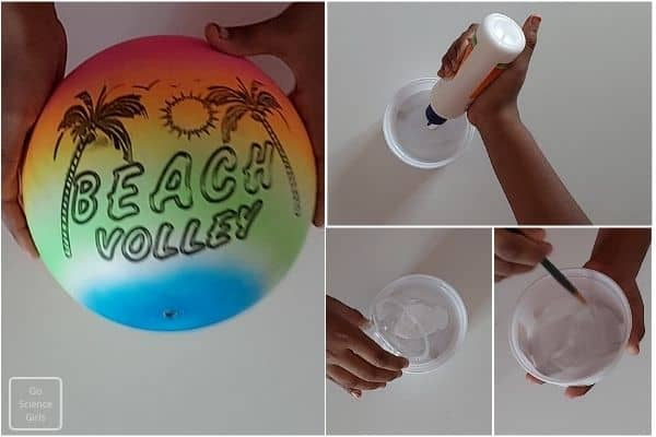 Mix water with glue