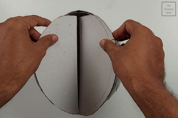 place cardboard into ball
