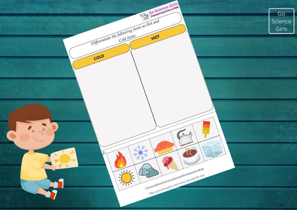 Science journal differentiate hot cold