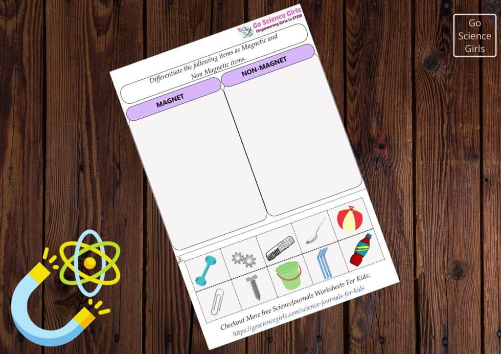 Science journal differentiate magnetic nonmagnetic